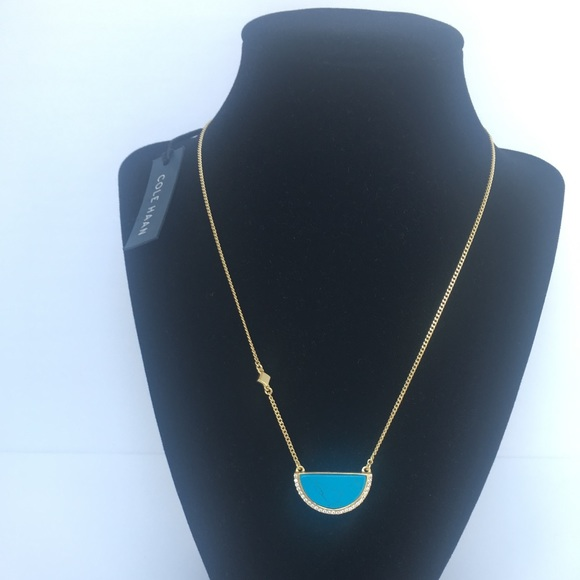 d6e28a7186c Cole Haan Half Moon Genuine Turquoise Necklace NWT